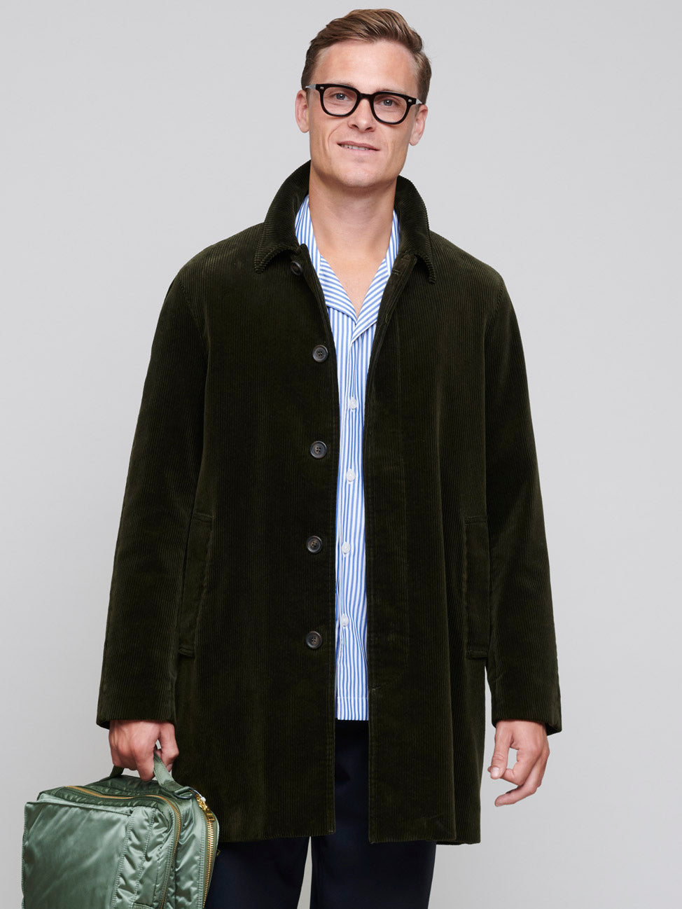 Single Breasted Corduroy Coat, Dark Green