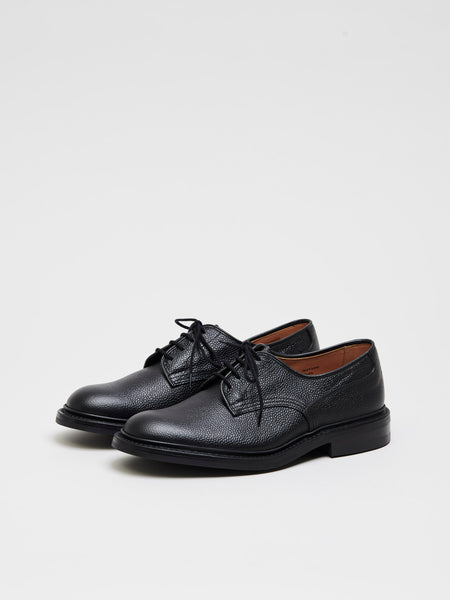 Woodstock Derby Leather Shoes, Black