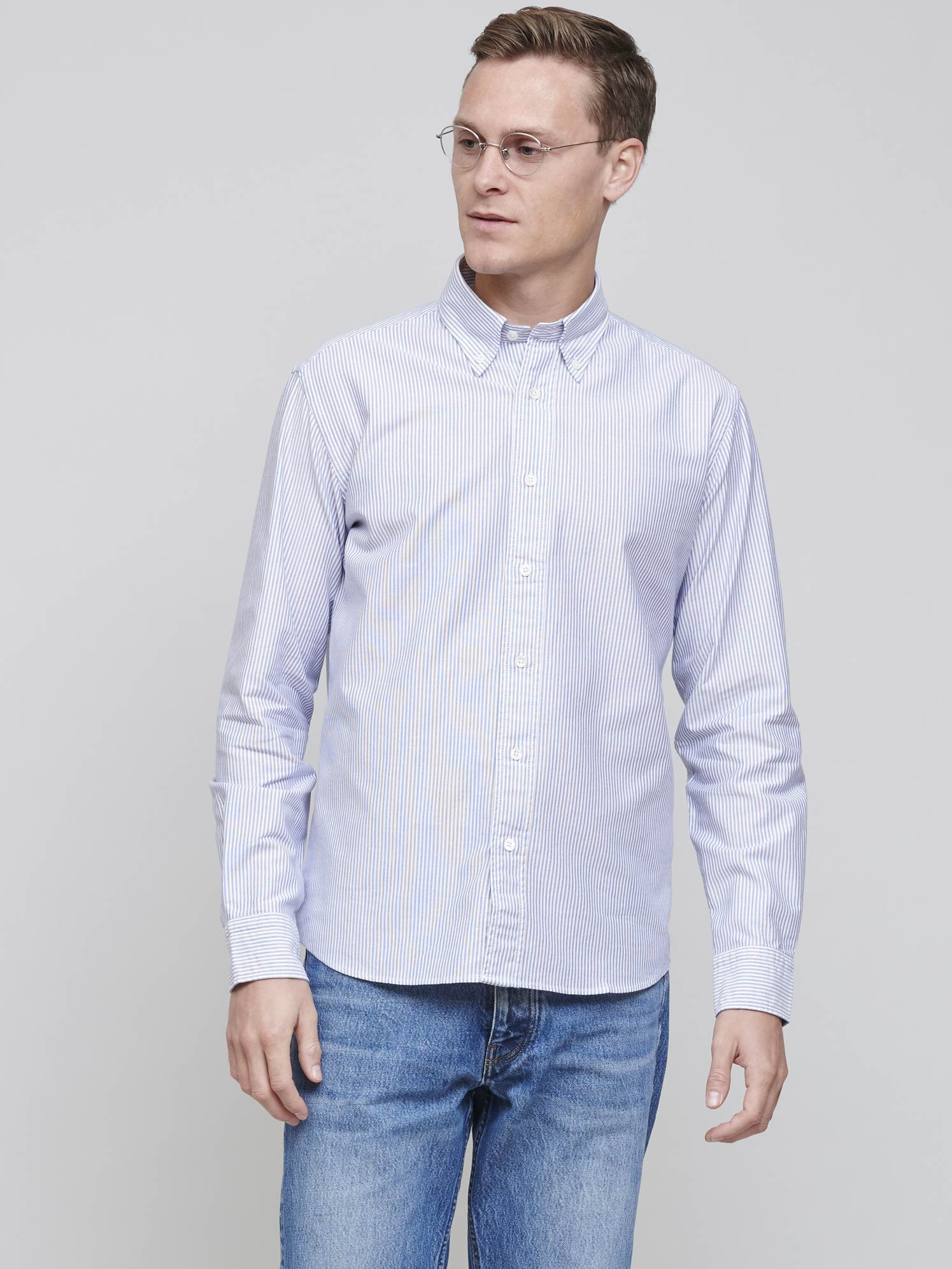 New BD Shirt, Mid Blue Oxford Stripe