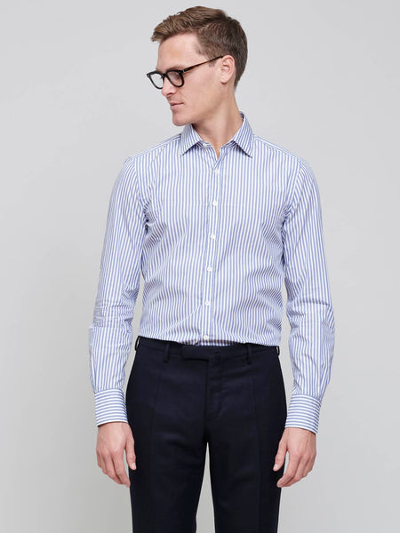 Curtis Poplin Shirt, Wide Poplin Stripe