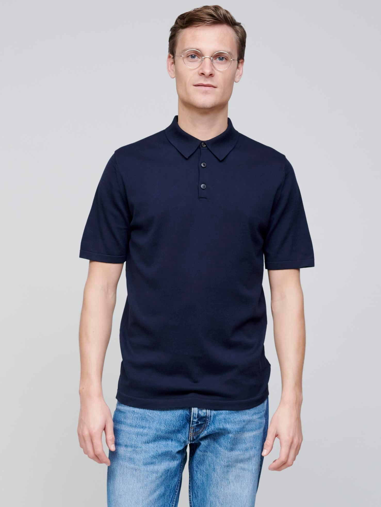 Short Sleeve Sea Island Polo, Navy