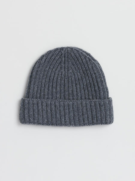 Ribbed Cashmere Watch Cap, Grey