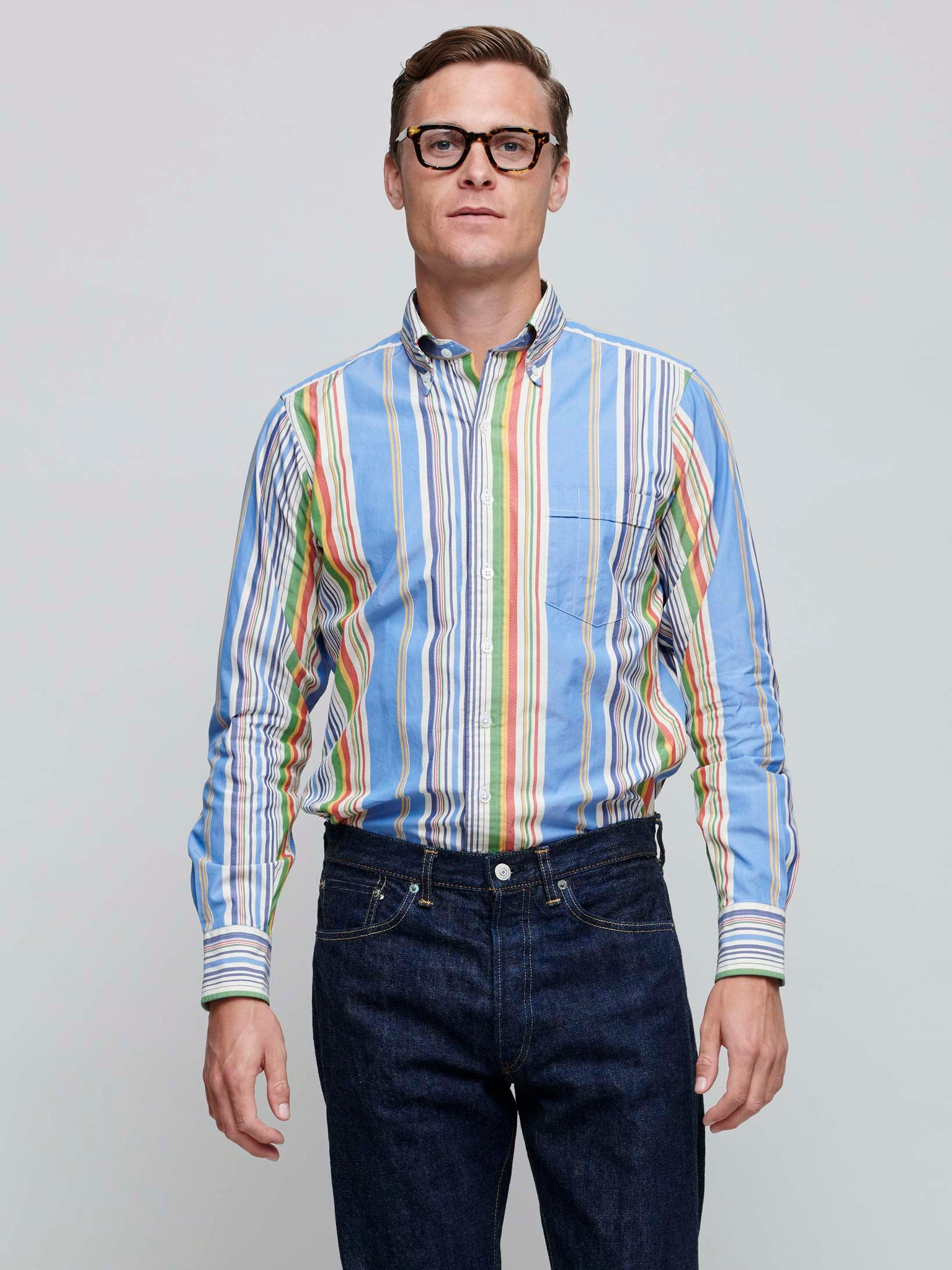 Oxford Button Down Shirt, Multi Color Stripe