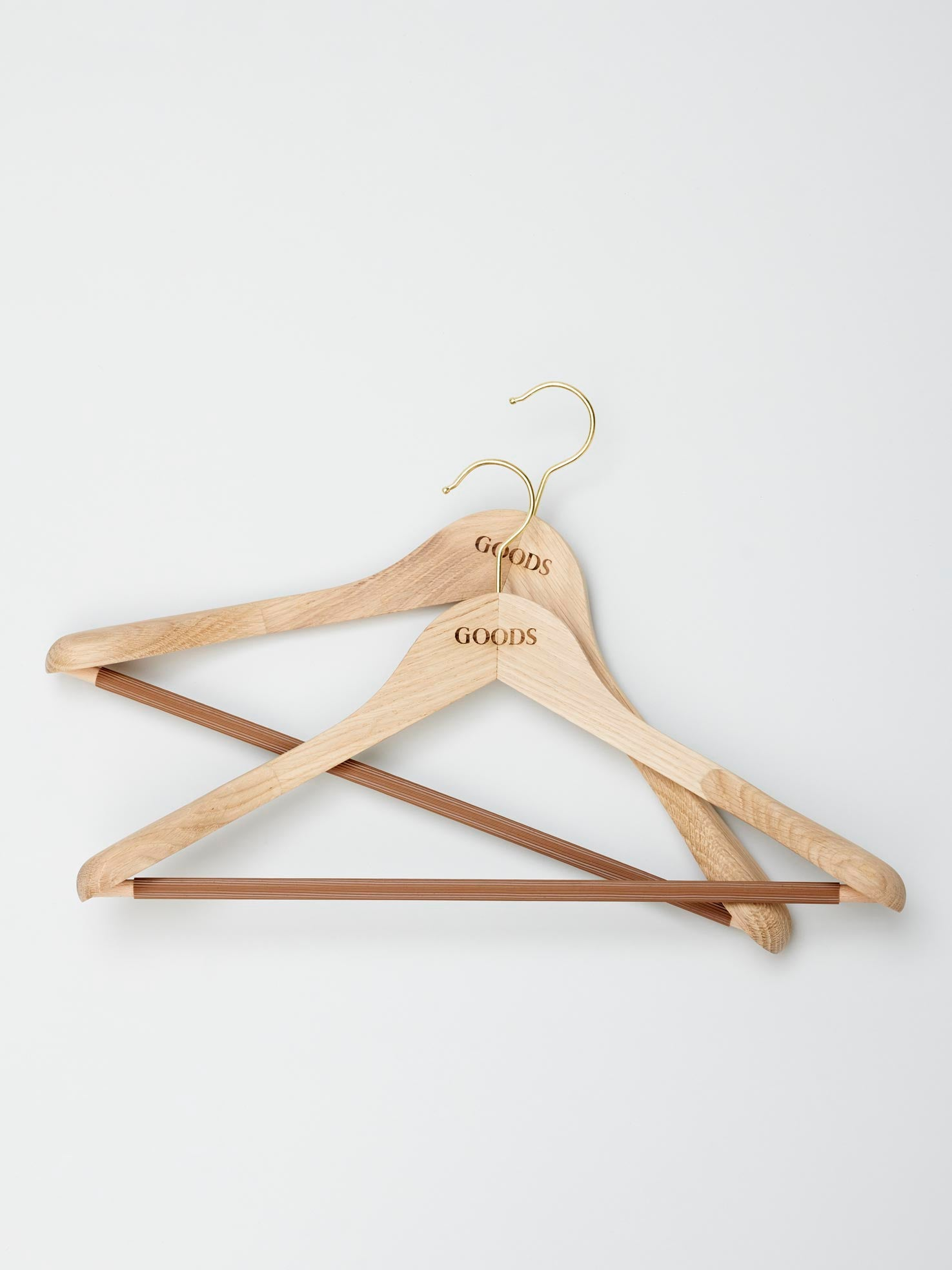 2 x Solid Oak Hangers for Suits & Jackets