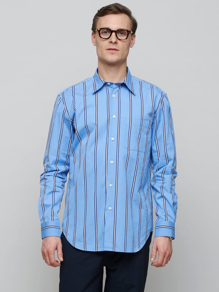 Adrian Shirt, Blue White/Navy Stripe