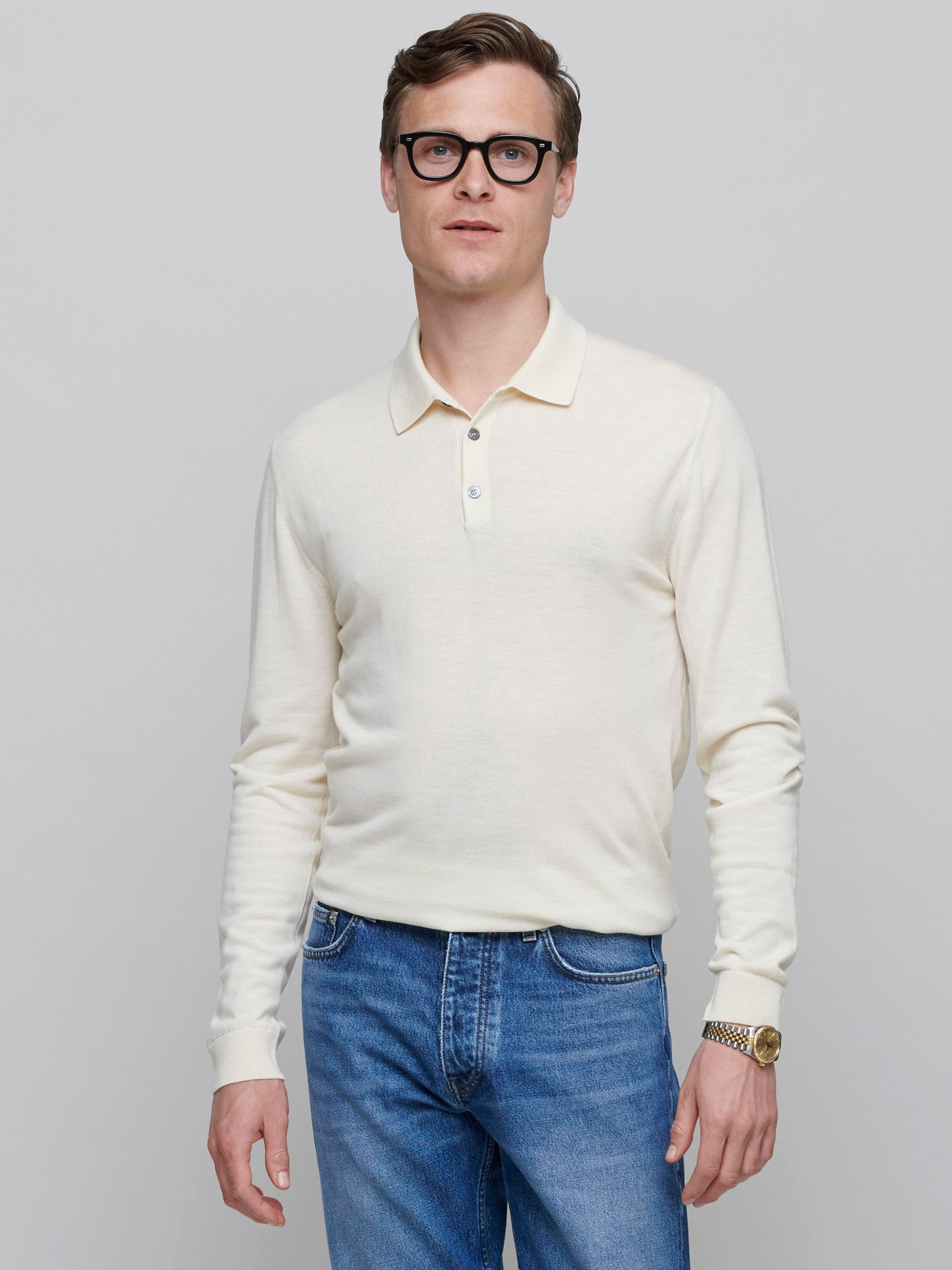 All-Round Merino Polo, Cream