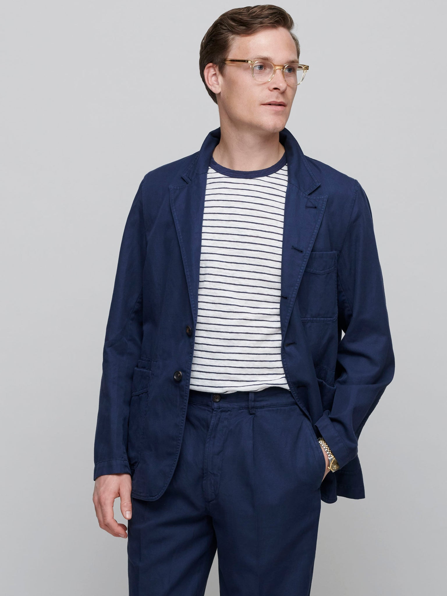 Cotton-Linen Games Blazer Mk. II, Dark Navy