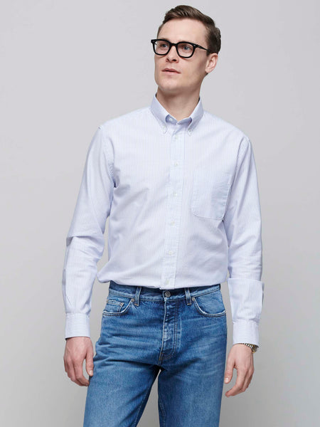 American BD Oxford Shirt, Blue/White Stripe