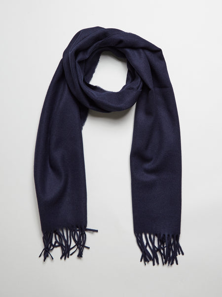 Wool Cashmere Scarf, Navy - Goods