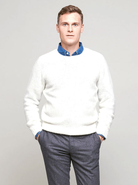 Brushed Shetland Sweater, Off-White - Goods