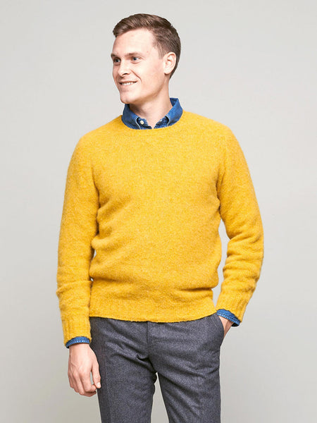 Brushed Shetland Sweater, Yellow - Goods