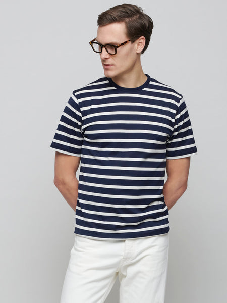 Classic Cotton T-shirt, Navy/Ecru Breton Stripe