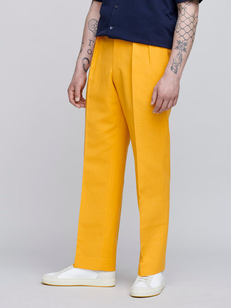 Wool Washi Amunzen Wide Slacks, Yellow