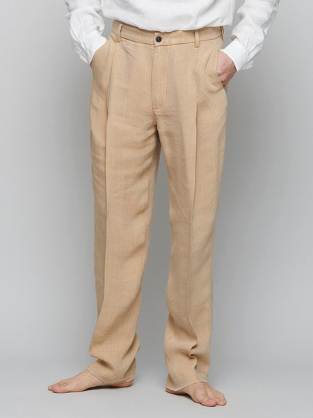 Tartana Trousers, Beige