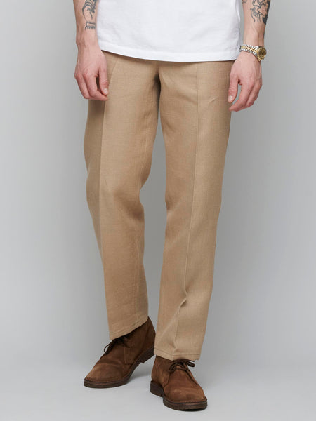 Linen Cotton Double Face Pants, Light Brown