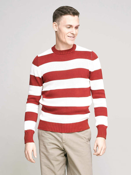 Knitted Cotton Crew Neck Jumper, Stripe Rust & Cream - Goods