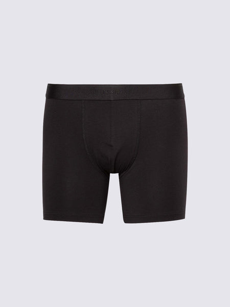 Men's Long Leg Stretch Cotton Trunks, Black