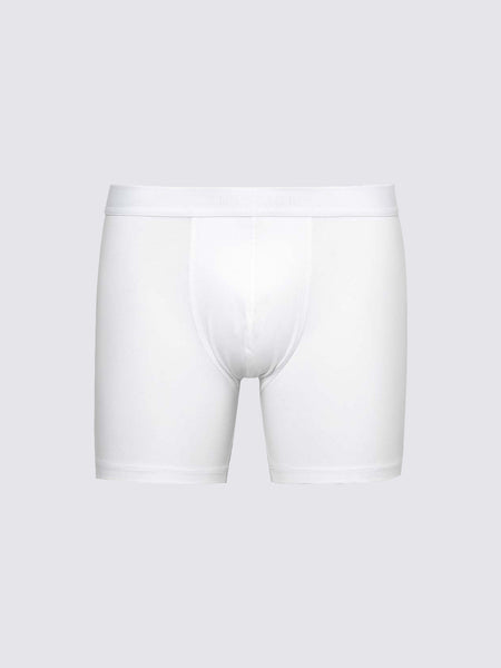 Men's Long Leg Stretch Cotton Trunks, White