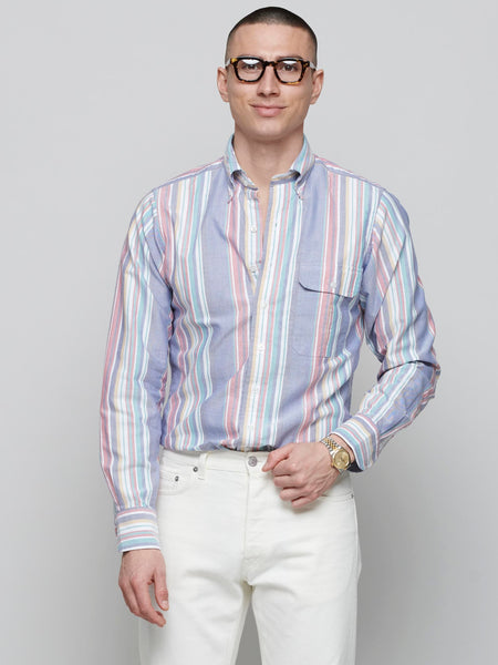 Oxford Cloth Button-Down Shirt, Dusty Blue/ Red/ Green Stripe