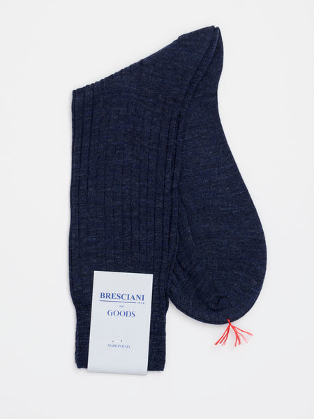 Fine Wool Socks Short Navy Blue Melange