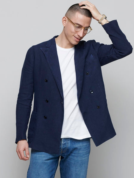 K Jacket Double Breasted, Navy Linen