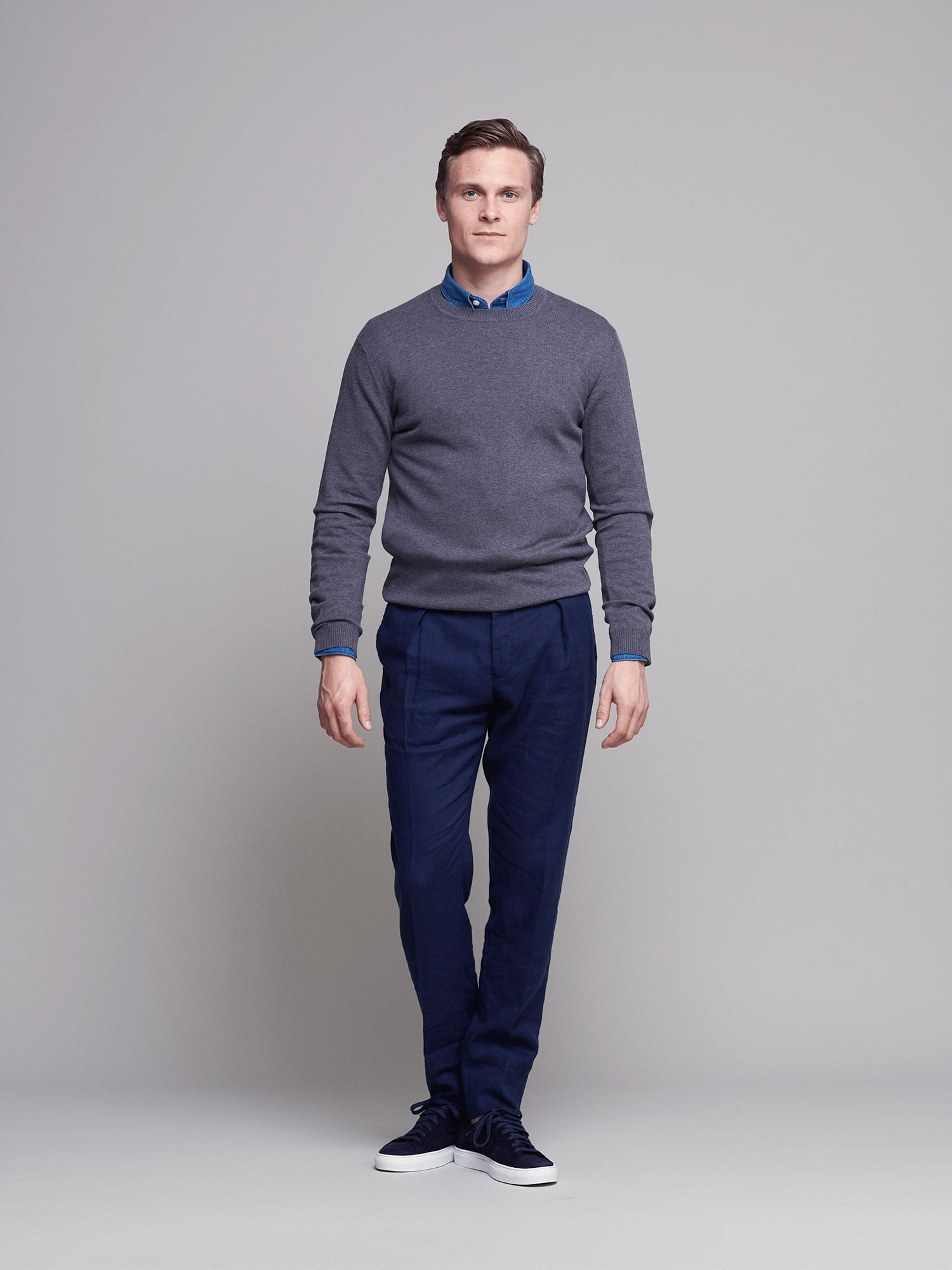 Italian Fine Cotton Jumper, Grey Melange - Goods