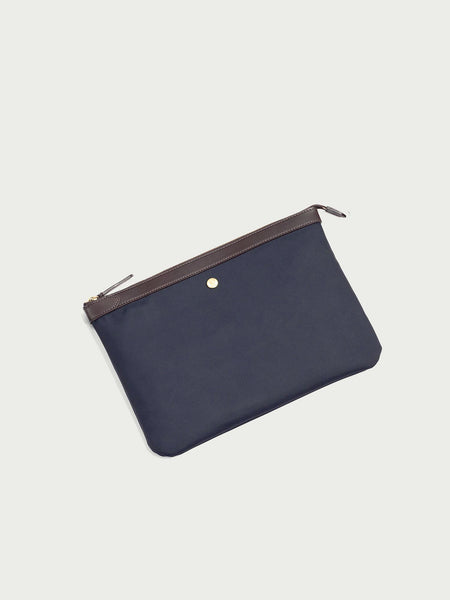 M/S Pouch Large, Navy/Dark Brown - Goods