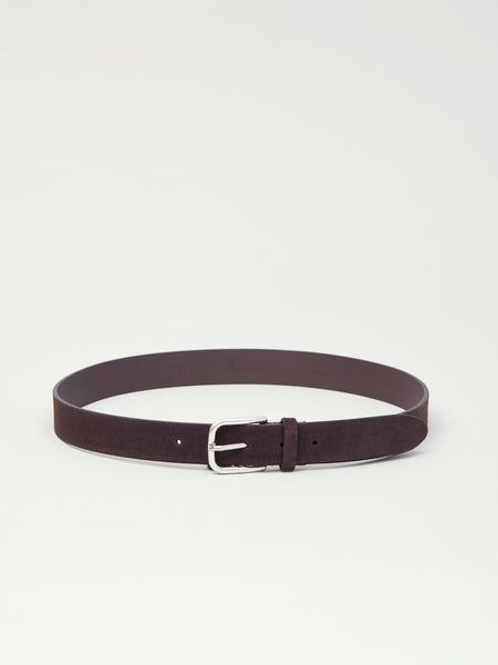 Suede Belt, Dark Brown