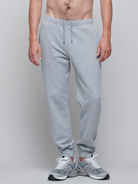Cotton Loopback Track Pant, Grey Melange