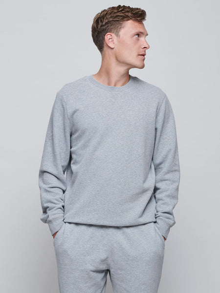 Cotton Loopback Sweatshirt, Grey Melange
