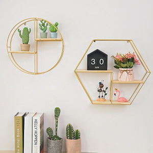 Nordic Iron Hexagonal Grid Wall Storage rack Shelf Wall Hanging Geometric Figure Wall Decoration Living Room decorative shelf