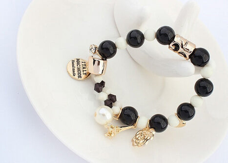 Pearl Beads Hearts Elastic Bracelet For Women