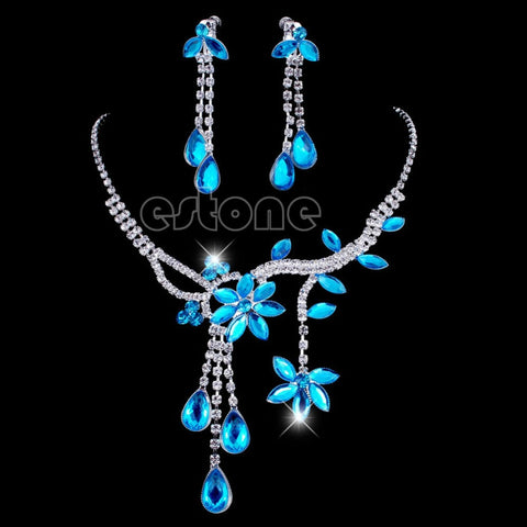 Flower Leaf Necklace Drop Earrings Jewelry Set
