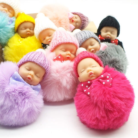 Cute Sleeping Baby Doll Key Chain