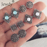 4 Pairs/Set Women Crystal Bohemian Stud Earrings