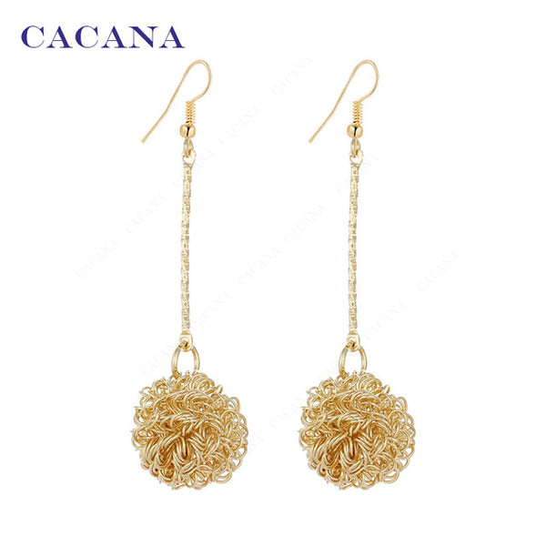 Dangle Long Earrings With A Lovely Ball