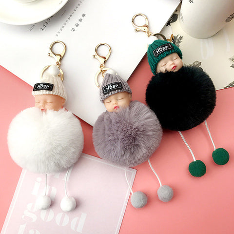 Sleeping Doll Fur pom Car key Chain