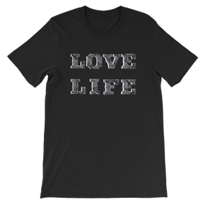 LOVE LIFE Unisex t-shirt gray and white print on black