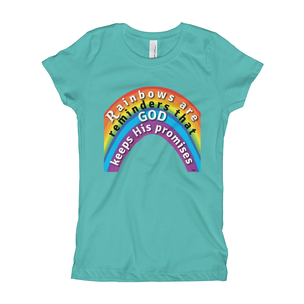 Rainbow Princess Tee heather Tahiti blue christian apparel