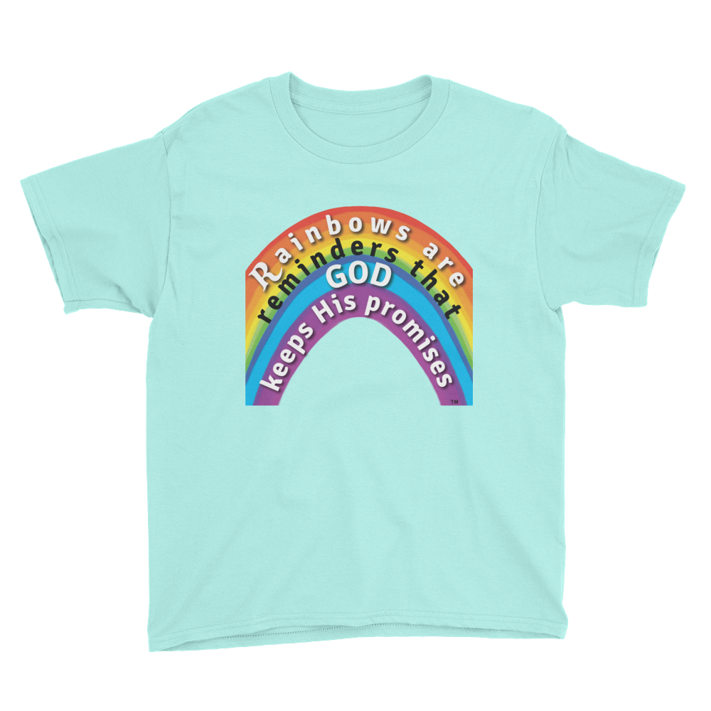 God's Rainbow Christian apparel youth t-shirt Anvil teal ice blue