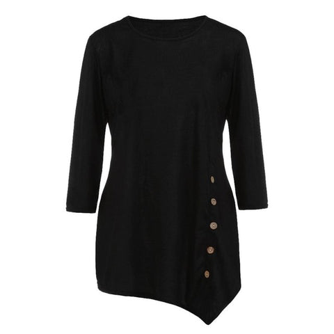 d61aaac9 Women's O-Neck Shirts Casual Long Sleeve Button ladies Tops solid Tunic  Chiffon Blouse Female