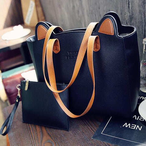 52f36331721a High Quality Big Tote Bag 2019 Autumn Winter Women Leather Handbags Cute  Cat Ears Shoulder Bag Mom Shopping Bag Bolsos MujerM396