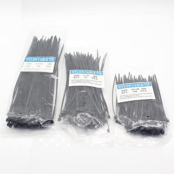 300 Attaches Câble en nylon 3x100, 3x150, 4x200