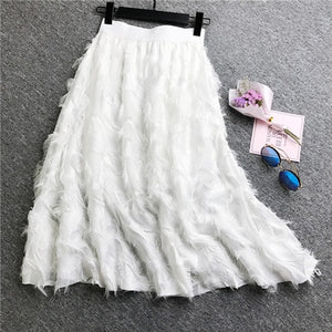 Toddler Girls Skirts Elastic High Waist Pleated Skirt Casual Long Skirts Clothes