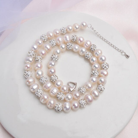 Zircon Ball Freshwater Pearl Necklace