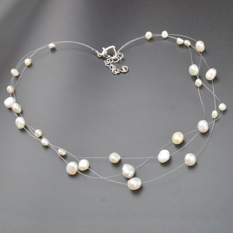 Asymmetry Pearl Choker Necklace