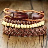 Beaded Leather Bracelet Set
