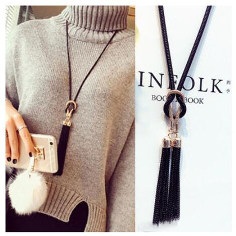 Double Tassel Long Chain Necklace