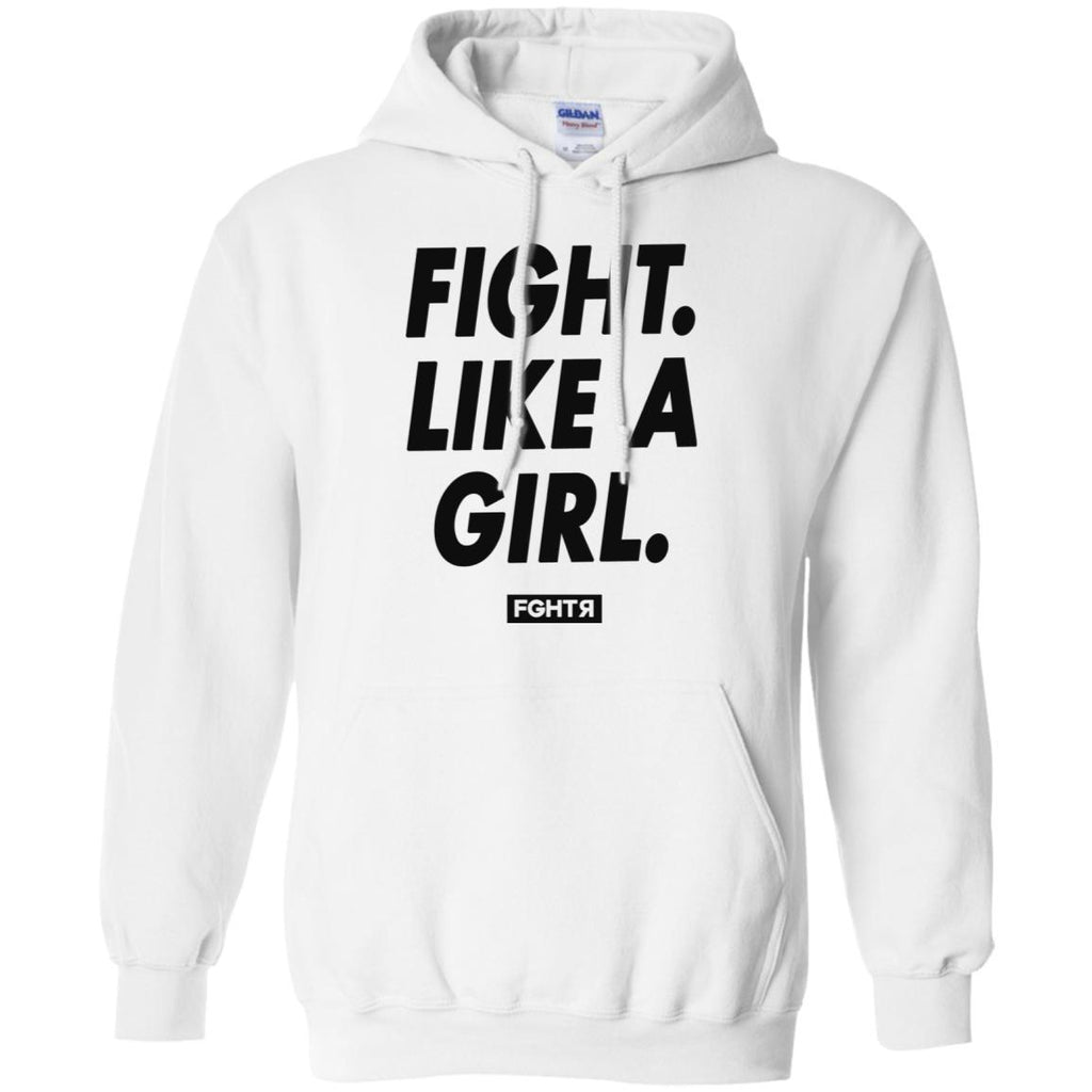 Fight Like A Girl Hoodie - White-FGHTR