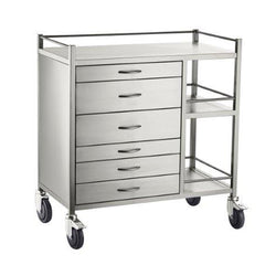 Anaestethic SS Trolley - 6 Drawer (1) 75mm (2 & 3) 150mm (4) 75mm (5 & 6) 100mm